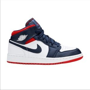 Air Jordan 1 Mid BQ6931 104 Red, White & Blue NEW